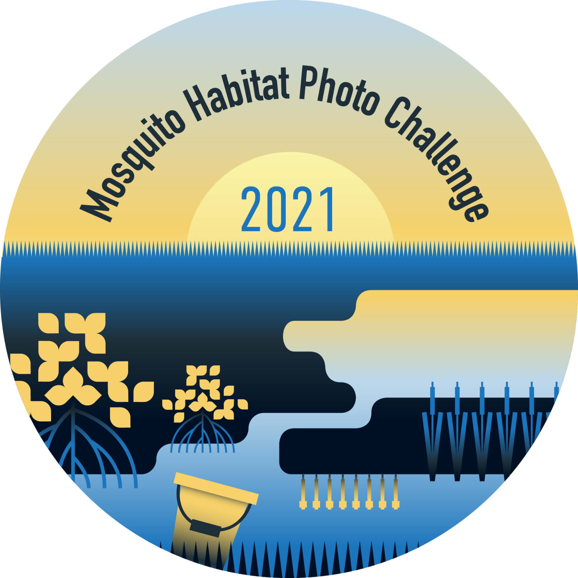 A badge showing a graphical representation of mosquito habitats on a landscape with the words Mosquito Habitat Photo Challenge 2021